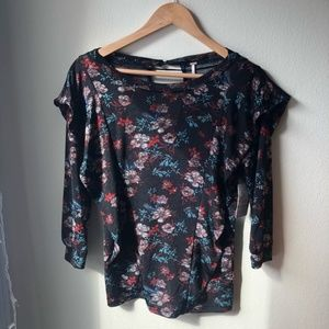 Free People Black Floral Ruffle Sleeve Blouse szXS